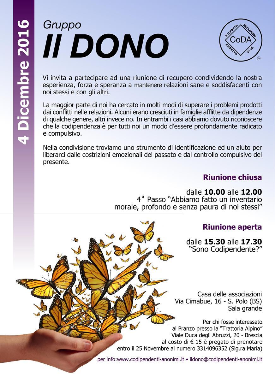 Gruppo C.O.D.A. Il Dono-Brescia - INVITO 4 Dicembre 2016-Codipendente Anonimi Italia